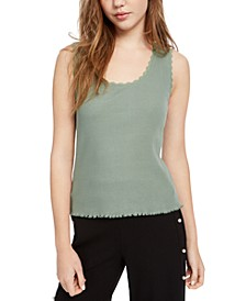 Juniors' Lace-Trim Ribbed Tank Top