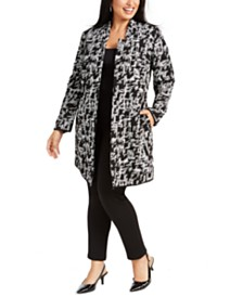 Alfani Plus Size Jacquard Open-Front Jacket, Created for Macy's
