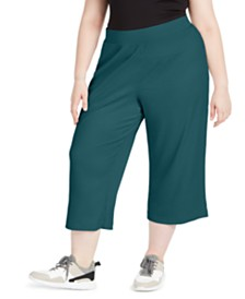 Ideology Plus Size Ribbed Culottes, Created For Macy's