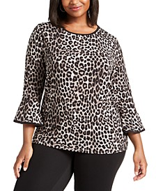 Plus Size Animal-Print Top