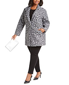 Plus Size Animal Print Coat