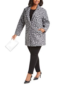 Michael Michael Kors Plus Size Animal Print Coat