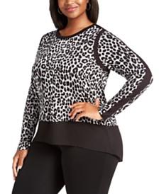 Michael Michael Kors Plus Size Leopard-Print Contrast-Trim Top