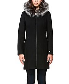 Hooded Fur-Trim Coat, Created for Macy's