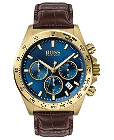 BOSS Men's Chronograph Hero Brown Leather Strap Watch 43mm