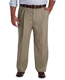 Men's Big & Tall Iron Free Premium Khaki Classic-Fit Pleated Pant