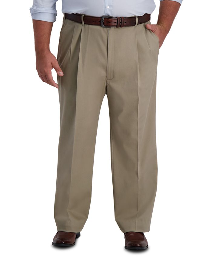 Haggar - Men's Big & Tall Premium Classic-Fit Performance Stretch Non-Iron Pleated Dress Pants