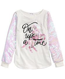 Beautees Big Girls Flip Sequin Unicorn T-Shirt
