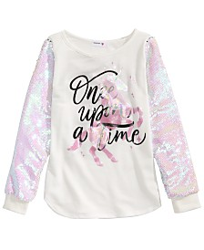 Beautees Big Girls Flip Sequin Unicorn T-Shirt