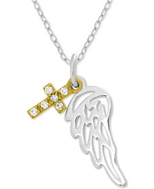 "Symbols of Strength Angel Wing & Cross 18"" Pendant Necklace in Gold-Plate & Fine Silver-Plate"