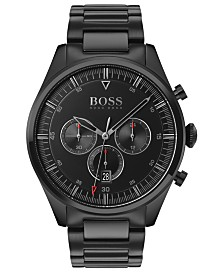 BOSS Men's Chronograph Pioneer Black Ion-Plated Stainless Steel Bracelet Watch 44mm