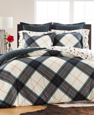 Winter Plaid Flannel Full/Queen Duvet Cover, Created for Macy's