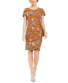 Petite Printed Faux-Wrap Dress