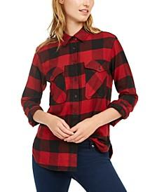Cotton Elbow-Patch Plaid Flannel Shirt