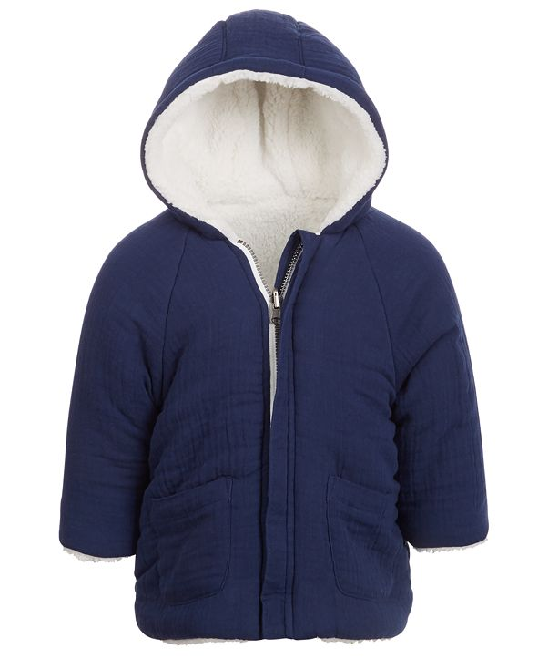 First Impressions Baby Boys Reversible Faux Sherpa Crepe Hooded Jacket, Created for Macy's