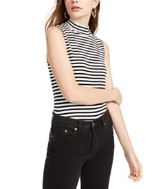 Splendid Striped Mock-Neck Top