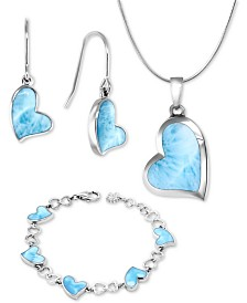 Marahlago Larimar Heart Jewelry Collection in Sterling Silver