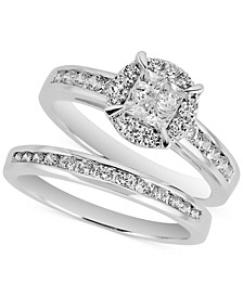 Diamond Princess Cluster Bridal Set (1 ct. t.w.) in 14k White Gold