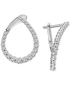 Diamond Teardrop Front & Back Hoop Earrings (1 ct. t.w.) in 14k White Gold