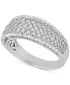 Diamond Beaded Edge Pavé Band (1 ct. t.w.) in 14k White Gold