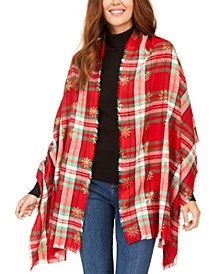 Snowflake-Print Plaid Wrap, Created for Macy's