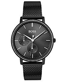 Women's Infinity Ultra Slim Black Ion-Plated Stainless Steel Mesh Bracelet Watch 35mm