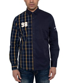 Sean John Men's Partial Plaid 98 Shirt