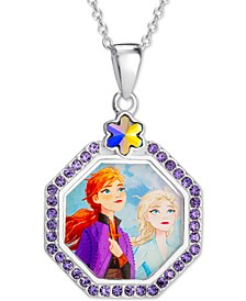 "Children's Crystal Frozen Elsa & Anna Pendant Necklace in Sterling Silver, 16"" + 2"" Extender"