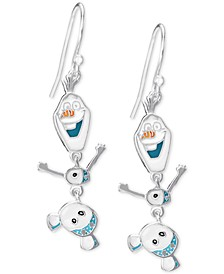 Children's Frozen Olaf Drop Earrings in Sterling Silver