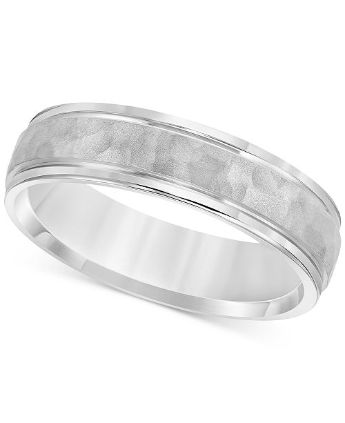 Macy's Men's Hammered Texture Band in Sterling Silver