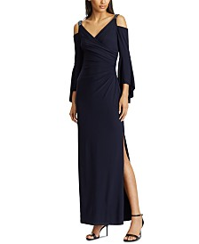 Lauren Ralph Lauren Cold-Shoulder Evening Gown