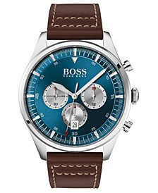Men's Chronograph Pioneer Brown Leather Strap Watch 44mm