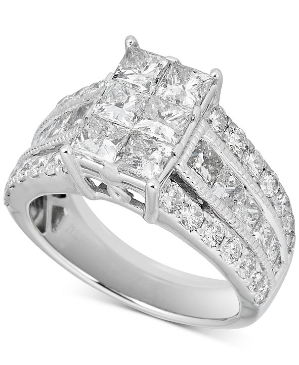 Macy's Diamond Cluster Engagement Ring (3-1/2 ct. t.w.) in 14k White Gold