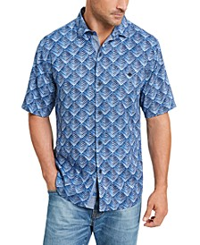 Men's Big & Tall Agave Tiles Silk Camp Shirt
