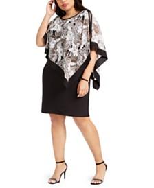 R & M Richards Plus Size Cold-Shoulder Cape Dress