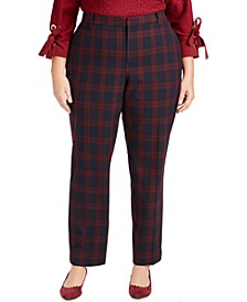 Plus Size Plaid Slim-Leg Pants, Created for Macy's