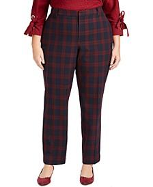 Plus Size Plaid Slim-Leg Pants, Created for Macy's