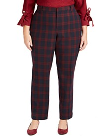 Charter Club Plus Size Plaid Slim-Leg Pants, Created for Macy's