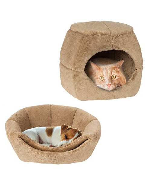 PetMaker 2 in 1 Convertible Pet Bed- Cat, Kitten or Small Dog Bed / Enclosed Cave House with Removable Foam Cushion and Soft Cover