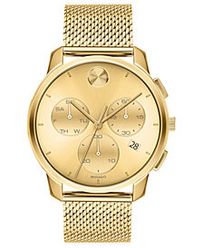 Movado Men's Swiss Chronograph Bold Gold Ion-Plated Stainless Steel Mesh Bracelet Watch 42mm