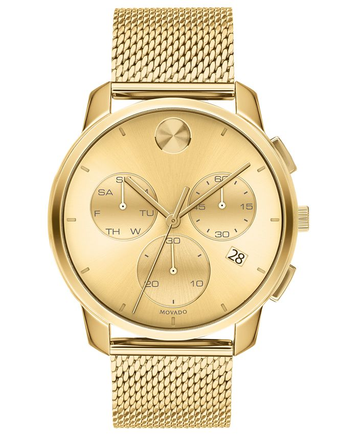 Movado - Men's Swiss Chronograph Bold Gold Ion-Plated Stainless Steel Mesh Bracelet Watch 42mm