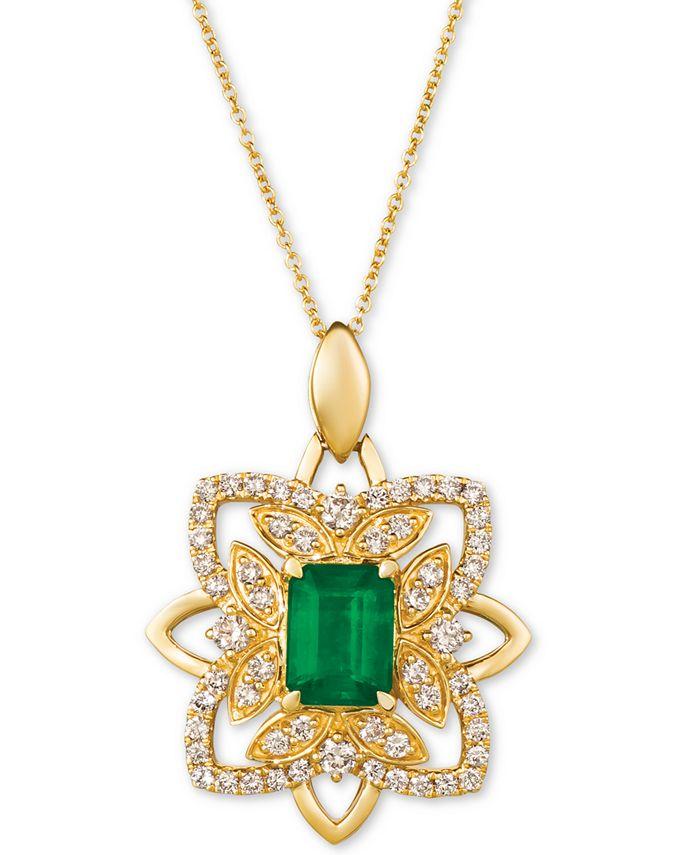 """Le Vian - Costa Smeralda Emerald (1-1/5 ct. t.w.) & Nude Diamond (5/8 ct. t.w.) 20"""" Pendant Necklace in 14k Gold"""