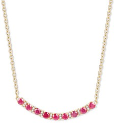 "Certified Ruby (1-1/5 ct. t.w.) & Diamond (1/20 ct. t.w.) Curved Bar 17"" Pendant Necklace in 14k Gold (Also in Sapphire & Emerald)"