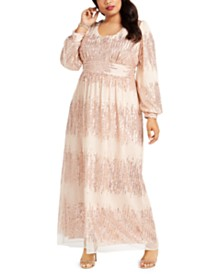R & M Richards Plus Size Sequined Blouson Gown