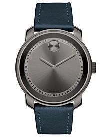 Men's Swiss Bold Blue Leather Strap Watch 43mm