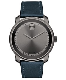 Movado Men's Swiss Bold Blue Leather Strap Watch 43mm