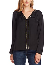 Studded Blouson-Sleeve Top