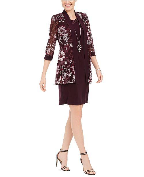 R & M Richards Petite Necklace Dress & Floral-Print Jacket