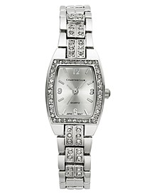 Women's Silver-Tone Crystal Bracelet Watch 28mm