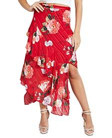Adiva Asymmetrical Floral-Print Skirt
